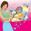 Young woman playing tennis — Stock Vector