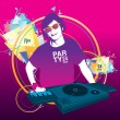 DJ playing turntable and music in the night party — Stock Vector