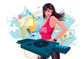 Attractive and beautiful woman DJ playing music in the party — Stock Vector
