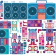 Stock Vector: Robot boom box tape music