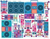 Robot boom box tape music — Stock Vector