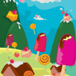 Ice cream candy in the land — Vector de stock