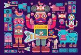 Robot pattern sticker and wallpaper — Stock Vector