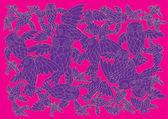 Batik owl pattern — Stock Vector