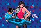 Illustration DJ party everyday — Stock Vector