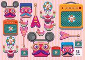 Cartoon music band equipment — Stock Vector