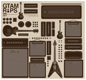 Vintage guitar set and amplifier — Stock Vector