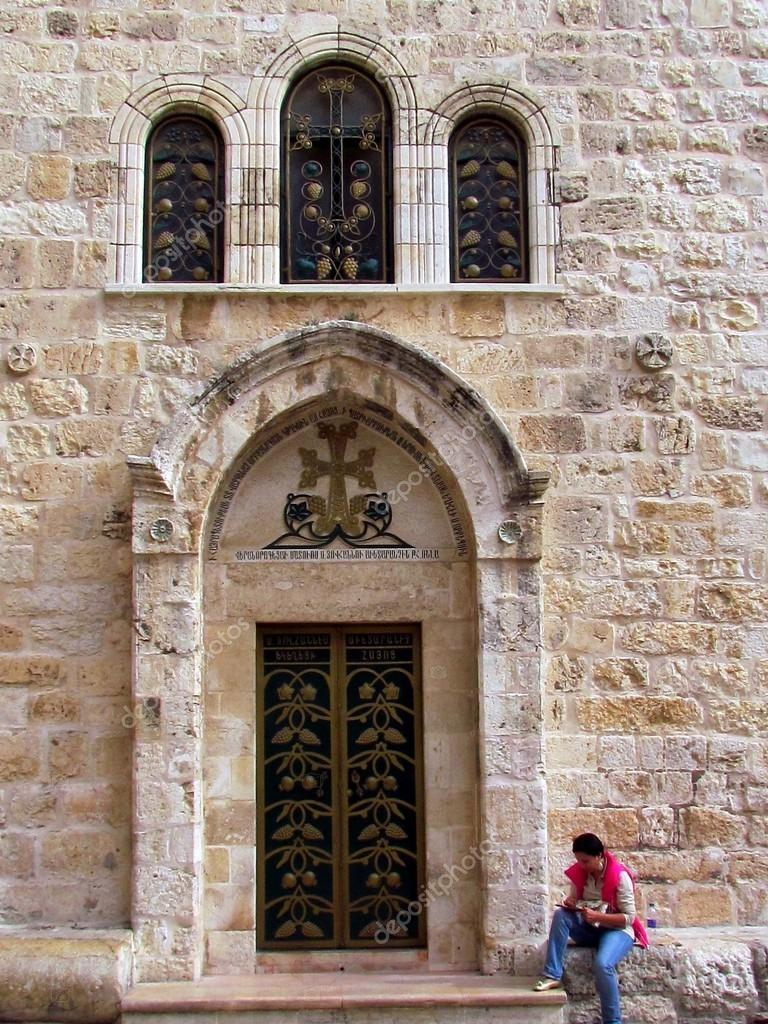 Door of Church of the Holy Sepulcher in Jerusalem, Israel                                    Stock Photo #19152457