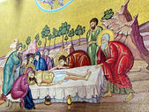 Jerusalem Holy Sepulcher mosaic of the anointing of body of Chr — Stock Photo