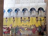 Jerusalem Holy Sepulcher view of mosaic of the anointing of body — Stock Photo