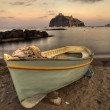 Aragonese Casle (Ischia Island) view beach old prison at sunset — Stock Photo #13880595