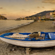 Aragonese castle (Ischia island Italy) view from beach old priso — Stock Photo
