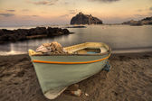 Aragonese Casle (Ischia Island) view beach old prison at sunset — Stock Photo