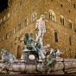 图库照片: Neptune fountain by night : Florence Italy