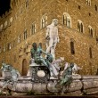 Stockfoto: Neptune fountain by night : Florence Italy