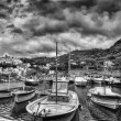Massa Lubrense, italian fishing village Panoramic Black White — Stock Photo