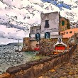 Fishing village CelseIschiisland Italy stylize mode — Stok Fotoğraf #30575977