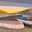 Aragonese Casle (Ischia Island) view beach old prison at sunset — Stock Photo #30576055