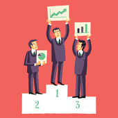 Businessmen, who won the competition for the presentation of their projects. — Stock Vector