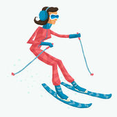 Run Skier Run (woman version) — Stock Vector
