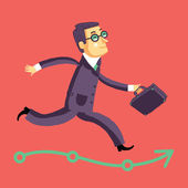 Running businessman on the road to success or career — Stock Vector