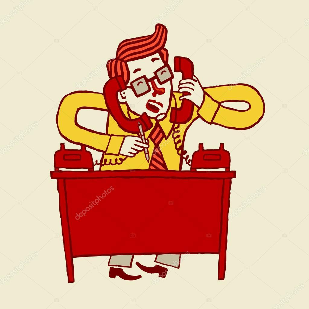 忙着卡通商人谈电话的矢量图 - 图库插图