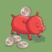 Piggy money bank with US Dollar coins — Stock Vector