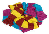 Some knitted scarves laid in a bunch — Stock Photo