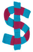 Winter scarf in the form of a dollar sign — Stock Photo