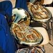 Tubas on chairs — Stock Photo