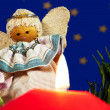 Candlelight with angel — Stock Photo