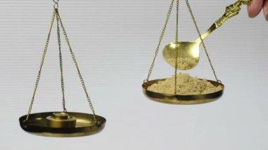 Olibanum on a balance — Stock Video