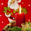 Candle with Santa Claus — Stock Photo