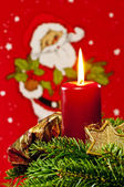 Candle with Santa Claus — ストック写真