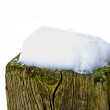 Stock Photo: Snow on fence post