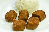 Goulash wit rice — Stock Photo