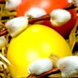 Easter basket with painted eggs and catkin — Stockfoto