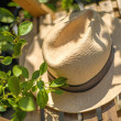 Panama hat on chair — Stock Photo