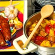 Spanish stew with chorizo sausage — Stock Photo