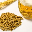 Hops pellets with beer glass — Stock Photo #33104123