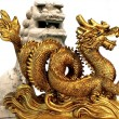 Dragon and feng feng shui lion — Stock Photo #35773389