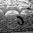 Stock Photo: Cleaned glasses at street party