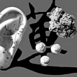 Acupuncture needles with ear model and moxibustion tools — ストック写真