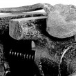 Old bench vise with rusty nail — Foto Stock