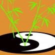 Taoism symbol with growing bamboo — ストック写真