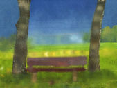 Park bench water color canvas — Stock Photo