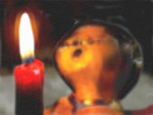 Angels sings with candle light, water color — ストック写真
