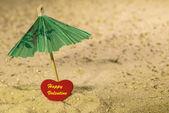 Glad Alla hjärtans på stranden — Stockfoto