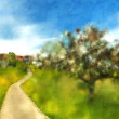 Country idyll with tree blossom and village — Stok Fotoğraf #38868951
