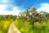 Country idyll with tree blossom and village — ストック写真
